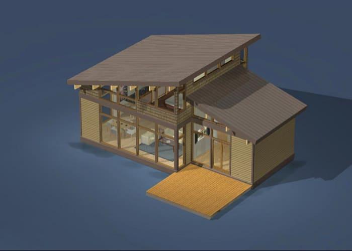 maqueta virtual de campo de madera