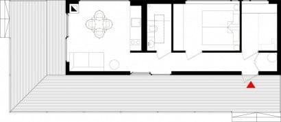 Plano casa pequeña de 46 metros cuadrados
