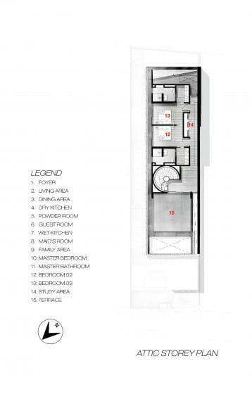 Plano de ático casa moderna