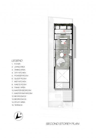 Plano de casa angosta y larga - Segundo piso