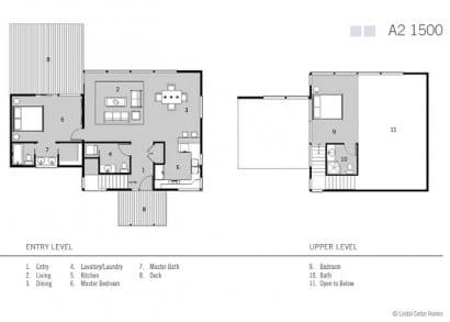 Plano de casa de campo dos dormitorios