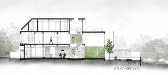 Plano de corte casa moderna tres pisos