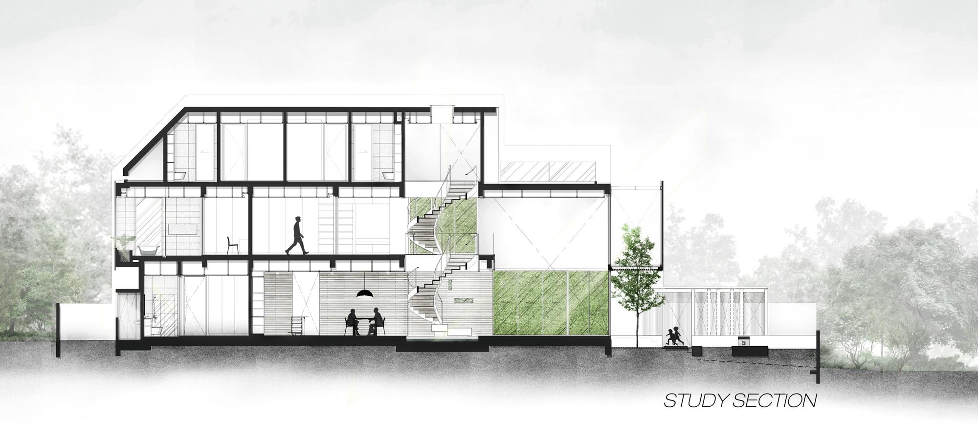 Plano de corte casa moderna tres pisos construye hogar for Casa moderna 3 pisos
