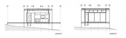 Plano de cortes de casa de un piso