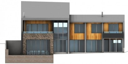 Plano de elevaciòn casa de campo dos pisos