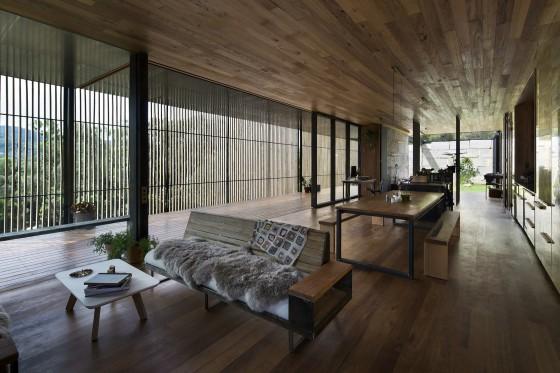 Diseño de interiores de sala comedor rústico