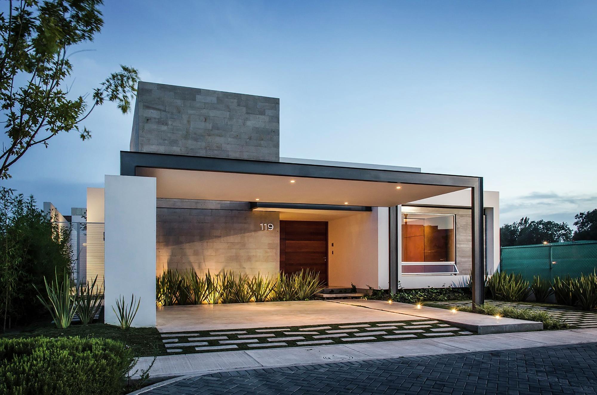 Dise o casa moderna de un piso construye hogar for Fachadas casas modernas