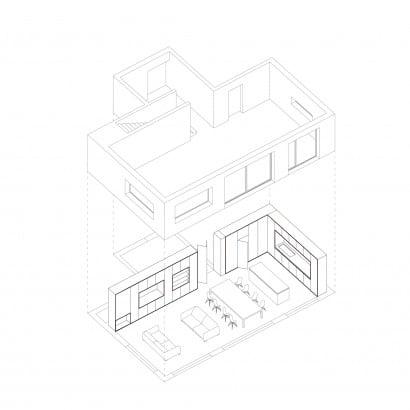 Plano de axonométrico casa dos plantas