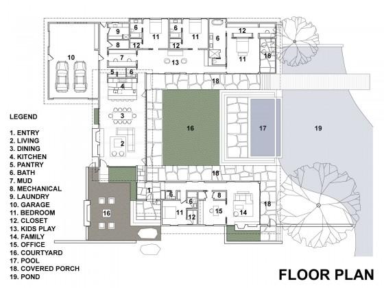 Plano de casa de un piso de 445 metros cuadrados