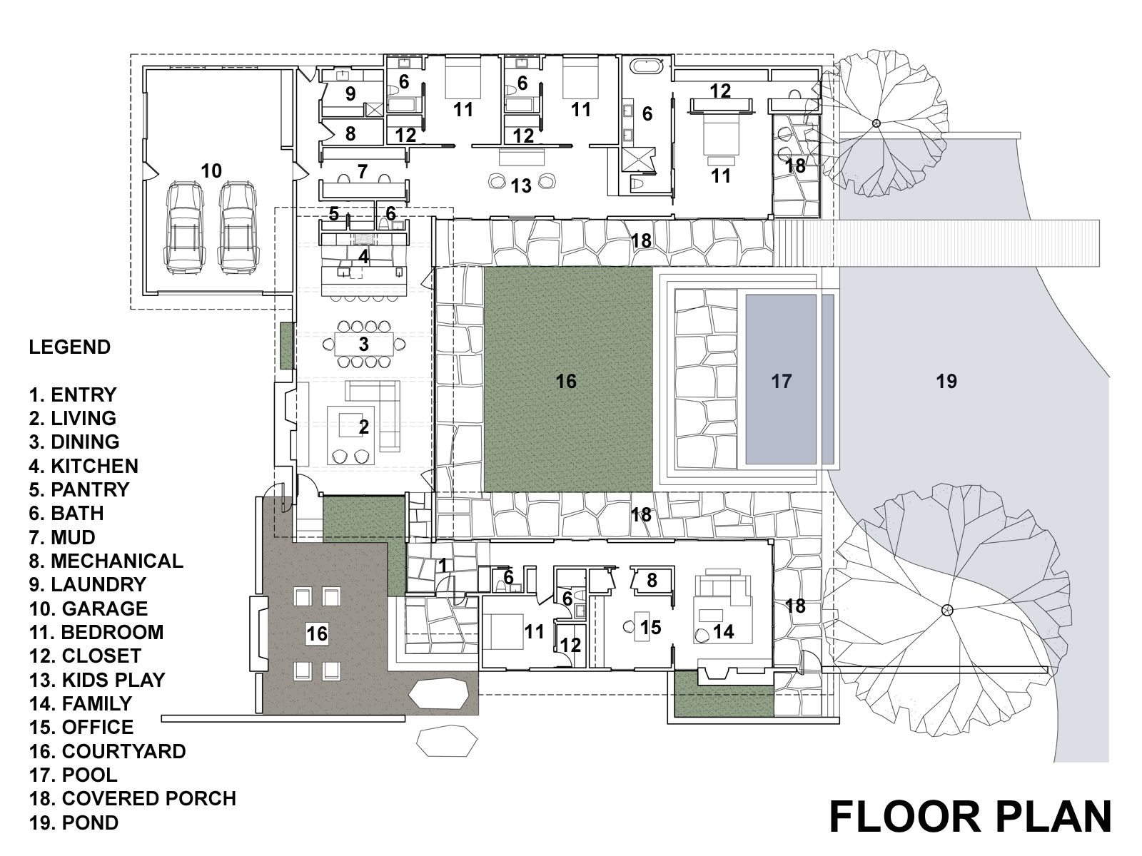 Casa de un piso con cuatro dormitorios construye hogar for Planos de casas con patio interior