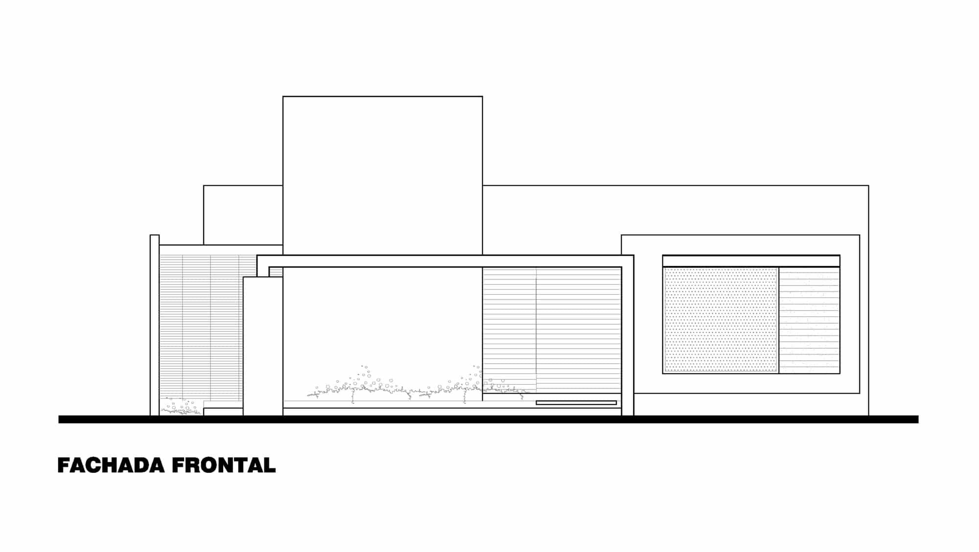 Plano de fachada frontal de casa de un piso construye hogar for Plano casa un piso