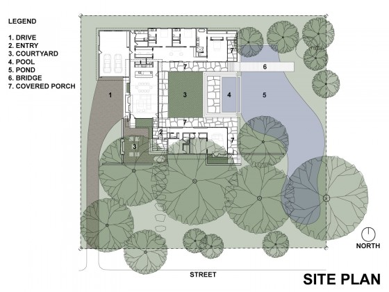 Plano de implantación de casa de un piso grande