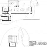 Plano de planta casa de campo con estacionamiento