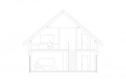 Planos de corte de casa dos pisos
