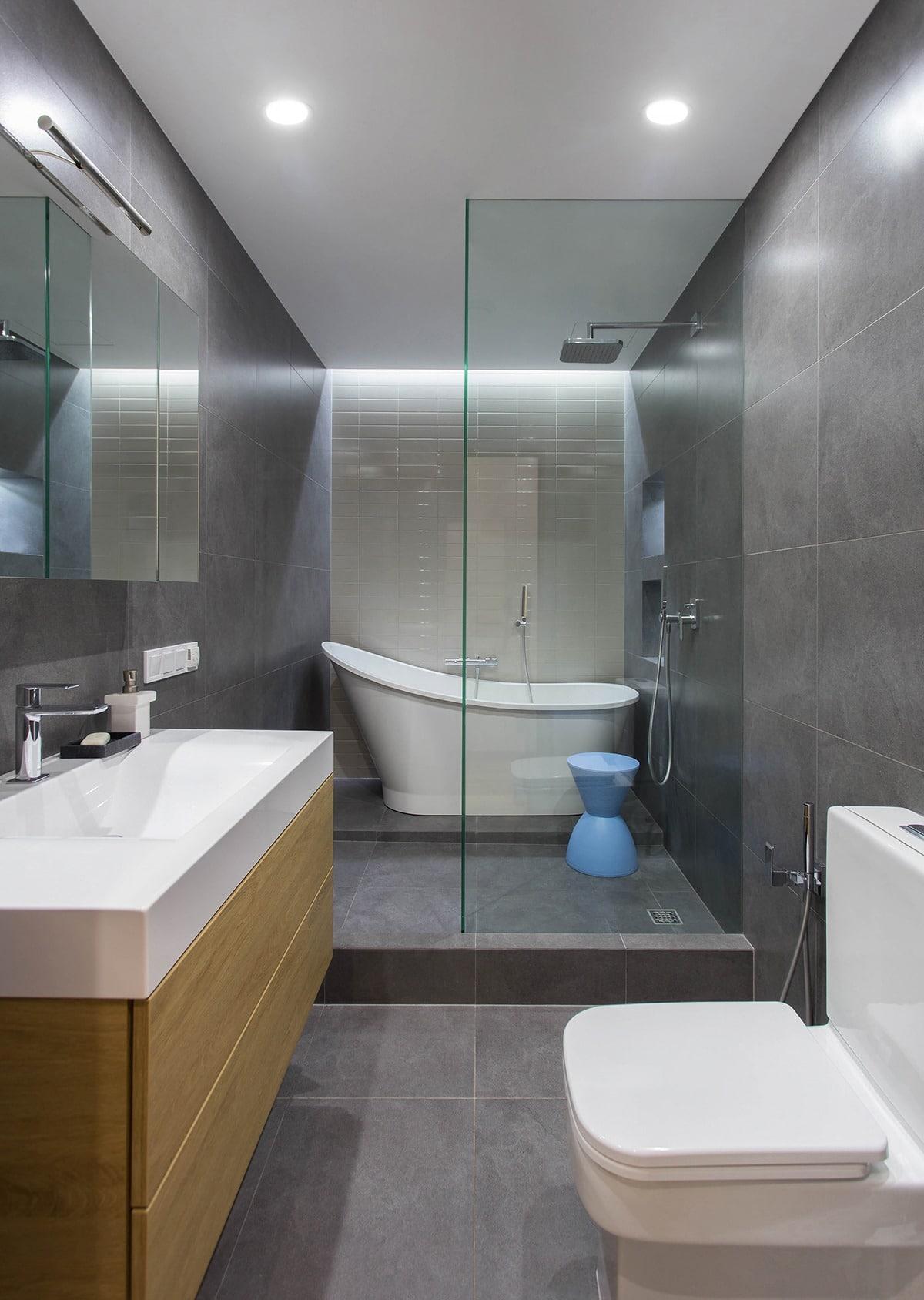 Departamentos peque os parejas con ni os construye hogar for Banos con ducha y tina