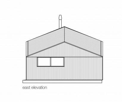 Plano de elevación este pequeña casa