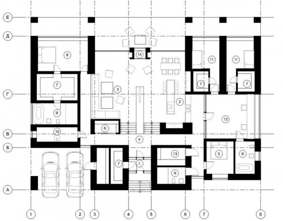 Plano de casa de un piso 5 dormitorios