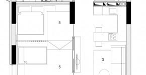 Plano departamento pequeño dos dormitorios