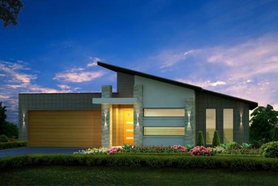 10 fachadas de casas modernas de un piso construye hogar for Casas modernas 4 aguas