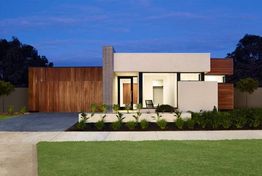 Fachada de casa contempor nea de un piso for Casa contemporanea
