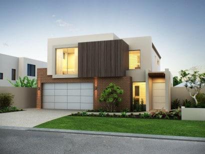 Fachada de casa moderna de dos pisos realestate.com.au