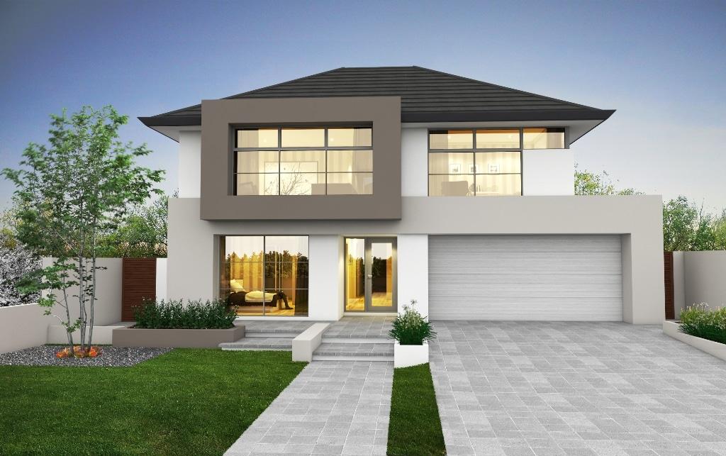 Fachada de moderna casa de dos pisos for Fachadas de casas modernas pequenas de 2 pisos