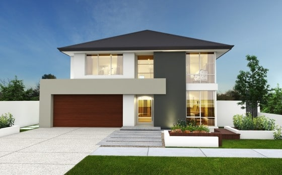 Hermosa fachada casa moderna dos pisos