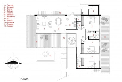 Plano casa en forma de L