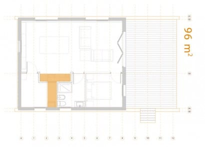 Plano casa pequeña de 96 metros cuadrados