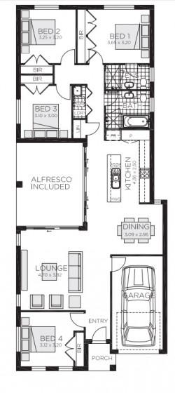 Plano casa de 178 metros cuadrados