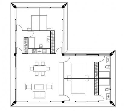 Plano casa pequeña tres dormitorios