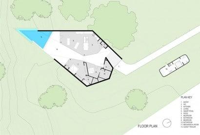 Plano de casa de un piso de forma irregular