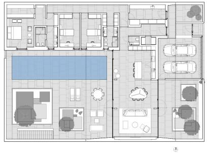 Plano de casa de un piso en forma de L