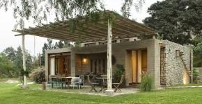 diseos de casas de campo con planos y fachadas en el uso de materiales de construccin