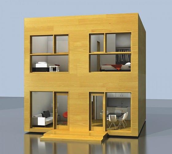 Casa modular pequeña de dos pisos