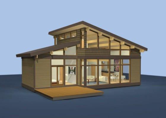 Casa pequeña con techos a dos aguas