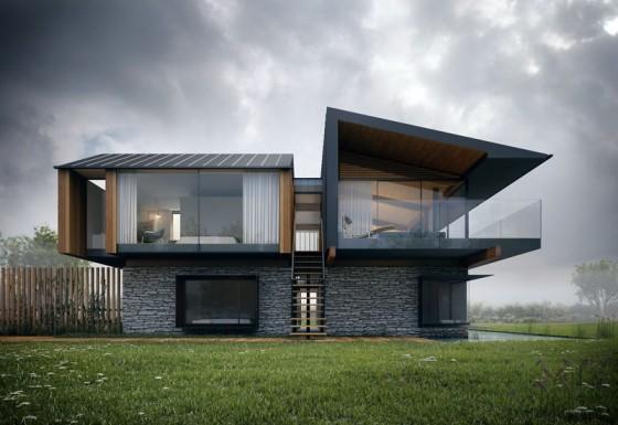 Diseño casa moderna con piedra y madera