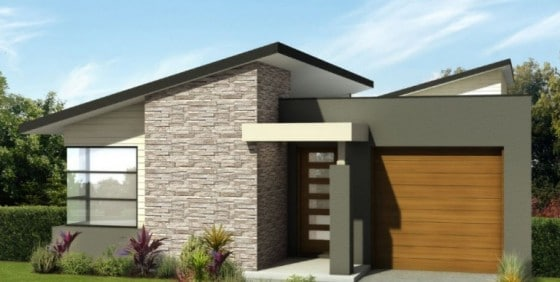 Diseño de fachada casa moderna pequeña piedra y hormigón