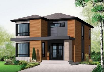 Fachada casa dos pisos de madera familyhomeplans.com vía Pinterest