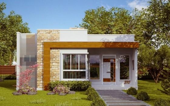 Fachada casa pequeña moderna con techos planos