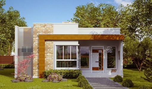 Fachada de casa un piso moderna pequeña