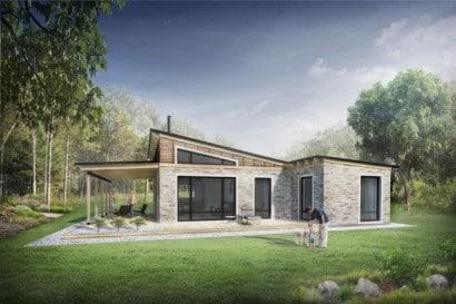 Hermosa casa de campo con piedra y madera Houseplans.com vía naibann.com