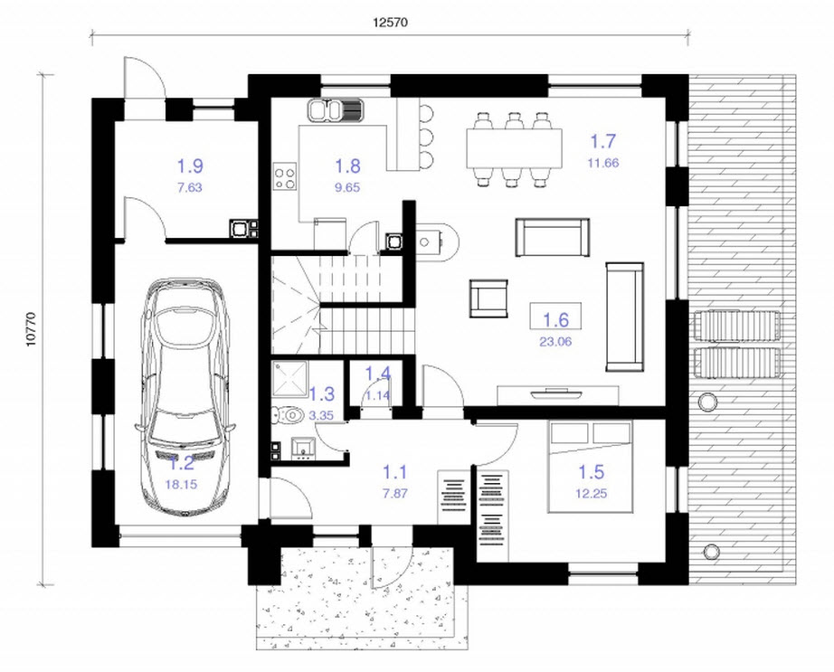 Ideas para casas en terrenos peque os construye hogar for Planos de casas de una planta de 120 metros cuadrados