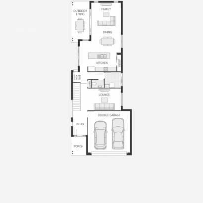 Plano casa angosta y larga