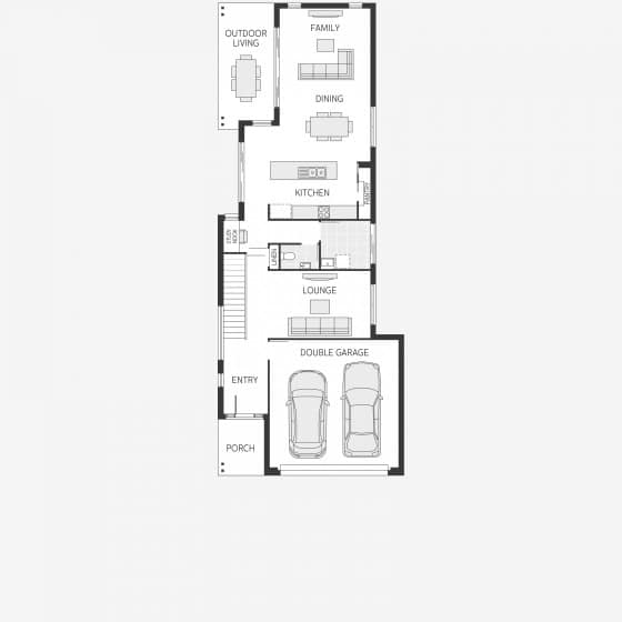 Plano casa en terreno angosta y larga