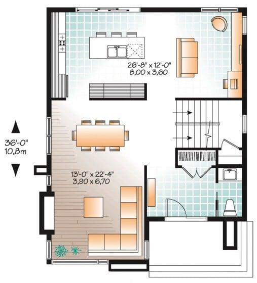 Plano casa construida terreno pequeño