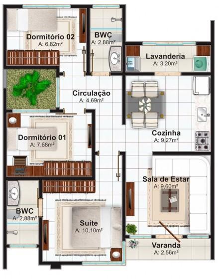 Plano casa pequeña de 70 metros cuadrados y tres dormitorios