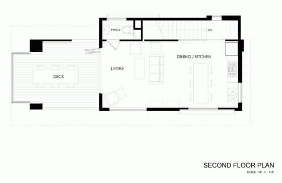 Plano de casa de campo de dos pisos