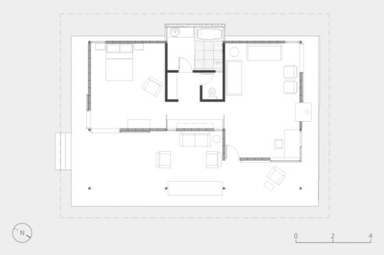 Plano de casa de campo pequeña un dormitorio