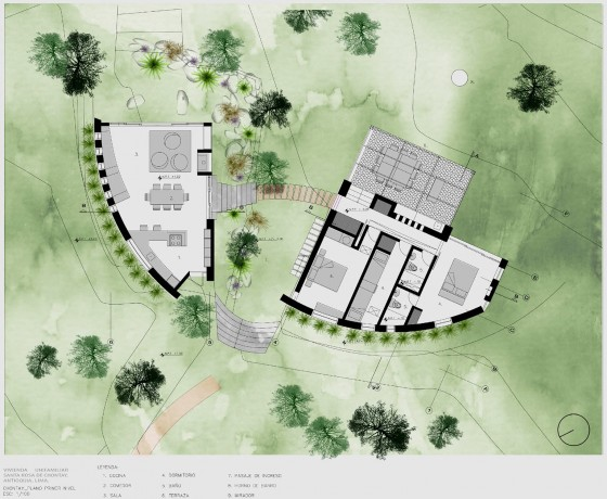 Plano de casa de campo un piso
